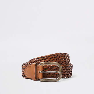 River Island Mens Tan woven leather gold tone buckle belt