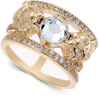 Thalia Sodi Gold-Tone Crystal Hourglass Lion Ring