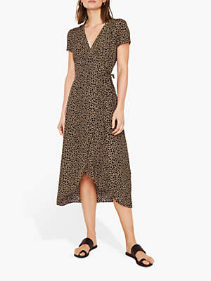 Warehouse Animal Print Wrap Dress, Tan