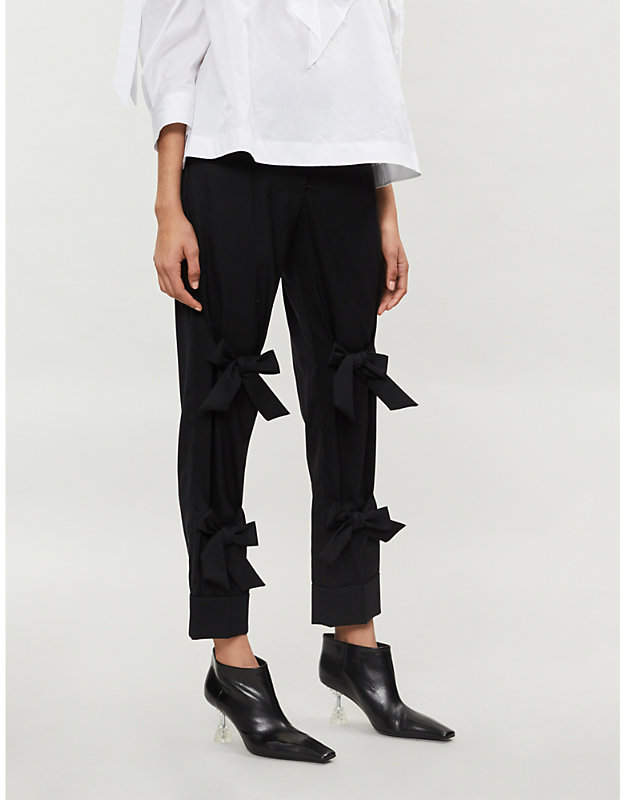 Bow-embellished straight stretch-wool trousers