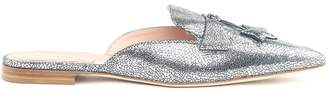 Alberta Ferretti Mia Metallic-leather Backless Loafers