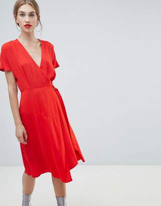 Warehouse wrap midi dress with flute sleeves in red