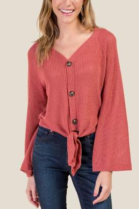 francesca's Brianna Buttoned Front Tie Top - Cinnamon