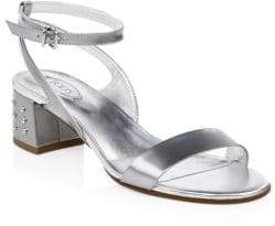 Tod's Metallic Leather Ankle-Strap Sandals