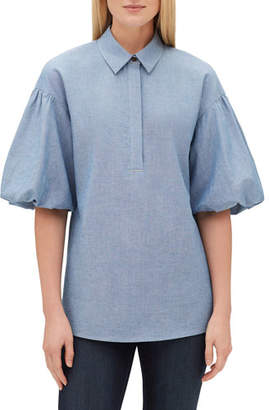 Lafayette 148 New York Pia Short Puff-Sleeve Blouse with Chain Trim