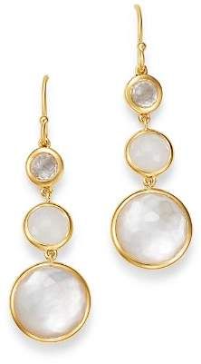 Ippolita 18K Yellow Gold Lollipop Clear Quartz, White Moonstone & Clear Quartz over Mother-Of-Pearl Doublet Three-Stone Drop Earrings