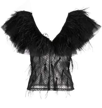 Johanna Ortiz feather trim sheer blouse