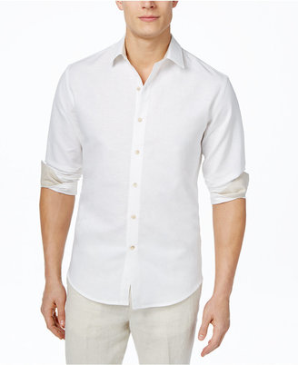 Tasso Elba Men's Solid Linen Long-Sleeve Shirt, Only at Macy's $59.50 thestylecure.com