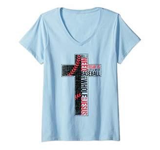 Womens All I Need Is Baseball & Jesus Christian Cross Faith In God V-Neck T-Shirt