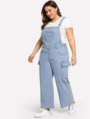 8af13d42e27 Shein Plus Pocket Front Wide Leg Denim Pinafore Jumpsuit