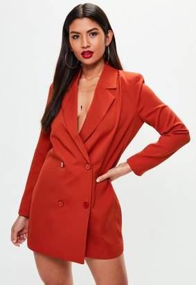 Missguided Orange Crepe Blazer Dress
