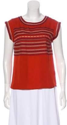 Veronica Beard Silk Embroidered Short Sleeve Top
