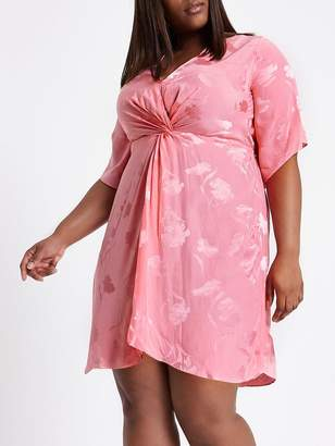 River Island RI Plus Kimono Knot Front Dress - Pink