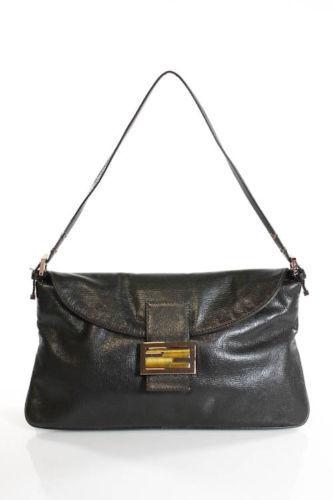 FendiFENDI Dark Brown Leather Baguette Shoulder Handbag EVHB