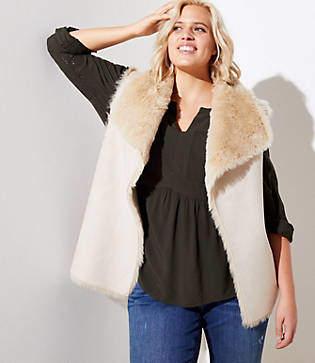 LOFT Plus Faux Fur Lined Vest