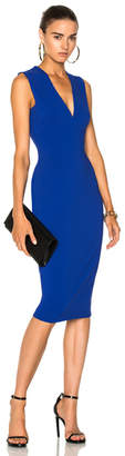 Victoria Beckham Matte Heavy Rib Jersey Sleeveless V-Neck Fitted Dress