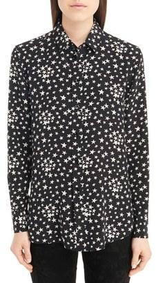 Women's Saint Laurent Star Print Silk Blouse $1,290 thestylecure.com