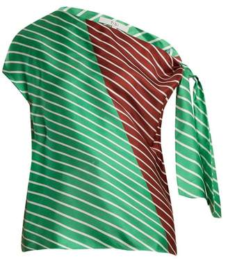 Tibi Delphina Knot Detail Silk Top - Womens - Green Multi