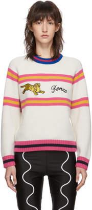 Kenzo Off-White Wool Jumping Tiger Crewneck Sweater