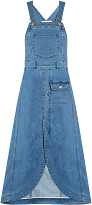 SEE BY CHLOÉ Curved-hem denim apron dress $296 thestylecure.com