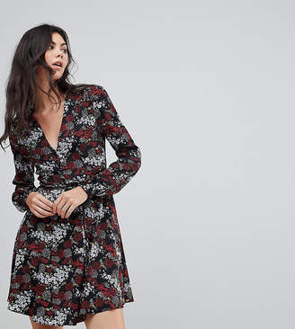Glamorous Tall Wrap Front Dress In Antique Floral