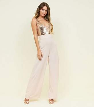 be5354ab254e New Look Gold Sequin Bodice V-Neck Jumpsuit