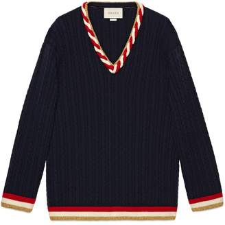 Gucci Cable knit cashmere wool sweater