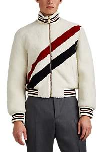 Thom Browne Men's Striped Shearling Bomber Jacket - White