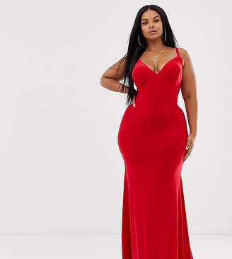 Club L London Plus cross back fishtail maxi in red