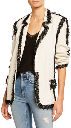 Libertine Beaded-Seams Long Blazer, White