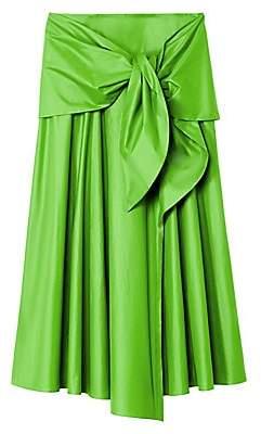Tibi Women's Glossy Plainweave Tie-Front Midi Skirt
