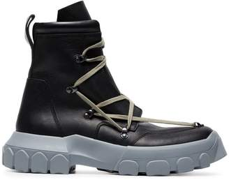 Rick Owens Black and Stone Grey Hike Lace Up Leather Boots