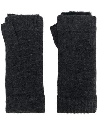 N.Peal fur-trim fingerless gloves