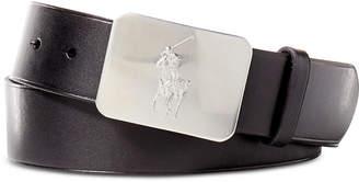 Polo Ralph Lauren Men Belt, Vacchetta Leather Logo Plaque