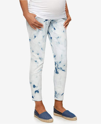 Luxe Essentials Denim Maternity Skinny Tie Dye Wash Ankle Jeans