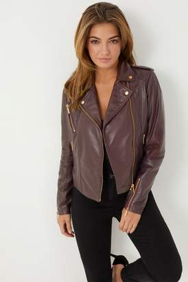 Next Lipsy Womens Leather Biker Jacket Red 6R