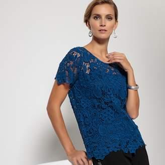 Anne Weyburn Cotton Guipure Lace Blouse
