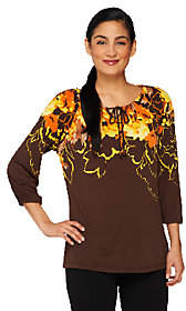 Susan Graver Long Sleeve Printed Tunic withKey Hole Detail