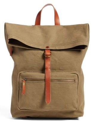 Madewell The Canvas Foldover Backpack - Black $98 thestylecure.com