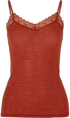 Hanro Leavers Lace-trimmed Wool And Silk-blend Jersey Camisole - Brick