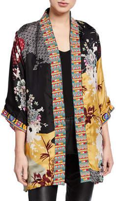 Johnny Was Abril Reversible Silk/Velvet Kimono