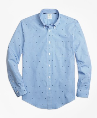 Brooks Brothers Milano Fit Gingham with Ship's Wheel Print Sport Shirt