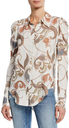 See by Chloe Paisley-Print Long-Sleeve Button-Up Blouse