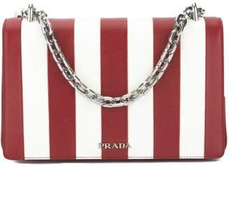 e2391a57f261 Prada Red Saffiano Stripe Motif Shoulder Bag (New with Tags)