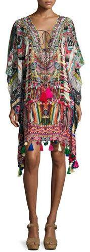 Camilla Camilla Printed Embellished Lace-Up Short Caftan Coverup, Multi