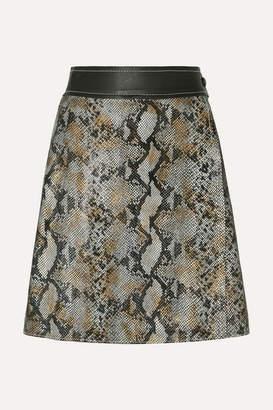 Stand Studio - Elene Snake-effect Leather Wrap Skirt - Gray