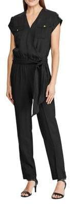 Lauren Ralph Lauren Short-Sleeve Tie-Waist Jumpsuit