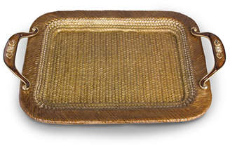 Jay Strongwater Abbott Rattan Metal Tray