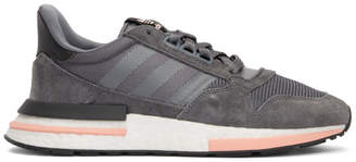 adidas Grey and Pink ZX 500 RM Sneakers