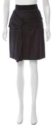 Oscar de la Renta Gathered Wool Skirt